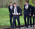 Rangers' players arrive at Mortonhall Crematorium for the funeral of Sandy Jardine.