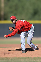 Los Angeles Angels pitcher Hunter Green (46) during an Instructional League game against the Milwaukee Brewers on October 11, 2013 at Tempe Diablo Stadium Complex in Tempe, Arizona.  (Mike Janes/Four Seam Images)