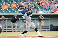 Rocket City Trash Pandas third baseman Luis Aviles Jr. (14) at bat against the Tennessee Smokies at Smokies Stadium on July 2, 2021, in Kodak, Tennessee. (Danny Parker/Four Seam Images)