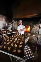 Italy, Apulia, Taranto district, Salentine Peninsula, Salento, Grottaglie, Premiata Forneria Lenti bakery, oven and freshly baked pastries with almonds