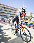 Bahrain Victorious arrive at sign on before the start of Stage 7 of La Vuelta d'Espana 2021, running 152km from Gandia to Balcon de Alicante, Spain. 20th August 2021.     <br /> Picture: Unipublic/Charly Lopez | Cyclefile<br /> <br /> All photos usage must carry mandatory copyright credit (© Cyclefile | Charly Lopez/Unipublic)