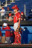 Williamsport Crosscutters catcher Brett Barbier (8) during a game against the Batavia Muckdogs on September 1, 2016 at Dwyer Stadium in Batavia, New York.  Williamsport defeated Batavia 10-3. (Mike Janes/Four Seam Images)