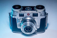 ELKHART LAKE, WI - June 23, 2017: Studio shot of a 1952 model vintage Kodak Signet 35 film camera that was used to photograph cars at the Kohler Grand Prix Verizon IndyCar race at Road America on June 23, 2017 in Elkhart Lake, Wisconsin. (Photo by Brian Cleary/bcpix.com)