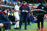 Andre Ayew of Swansea City talks Swansea City goalkeeper coach Tony Roberts before replacing Martin Olsson of Swansea City during the Premier League match between Swansea City and Burnley at the Liberty Stadium, Swansea, Wales, UK. Saturday 10 February 2018