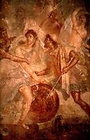 Roman Art:  Fresco--Achilles in Sciro, Pompeii. (Achilles in woman's clothing, Ulysses at right.)  Photo '83.
