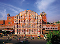 The Palace of the Winds (Hawa Mahal), Jaipur, India, and the busy street which runs in front of the palace
