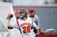 John Haus (26) of Maryland celebrates his goal while playing Penn at Ludwig Field in College Park, Maryland.