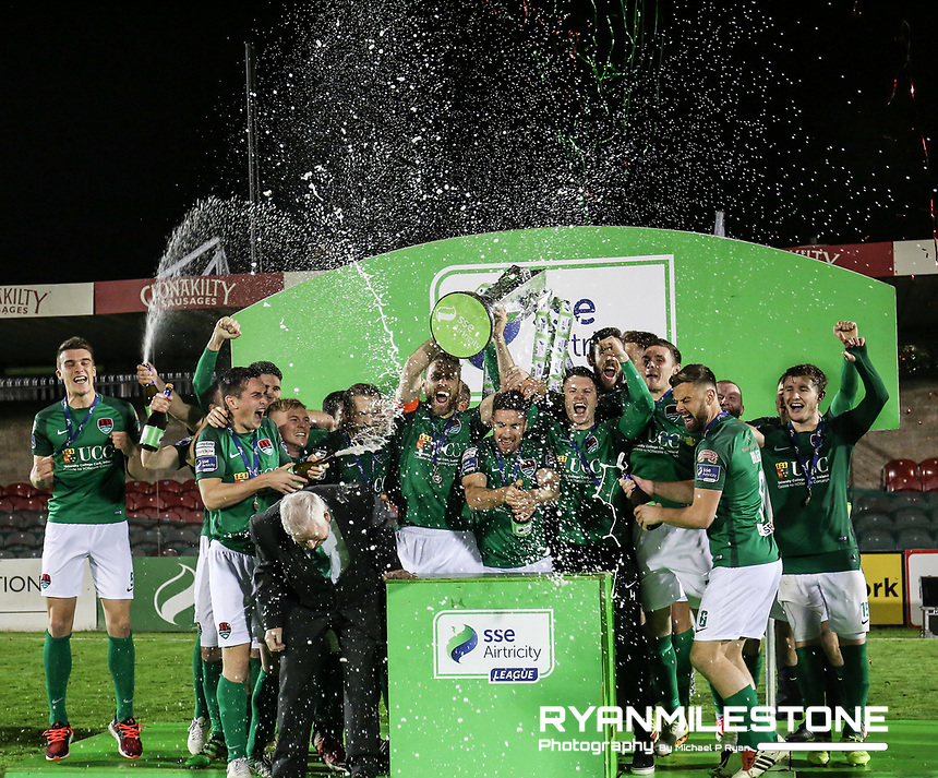 2017 SSE Airtricity League Premier Division,<br /> Cork City vs Bray Wanderers,<br /> Friday 27th October 2017,<br /> Turners Cross, Cork.<br /> Cork City lift the league trophy.<br /> Photo By: Michael P Ryan