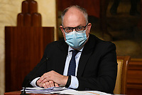The Minister of Economy Roberto Gualtieri wearing a face mask during the press conference after the Minister's cabinet.<br /> Rome (Italy), October 28th 2020<br /> Photo Pool Augusto Casasoli Insidefoto