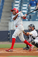 Clearwater Threshers D'Arby Myers #13 at bat in front of catcher Mitch Abeita #29 during a game against the Tampa Yankees at Steinbrenner Field on June 22, 2011 in Tampa, Florida.  The game was suspended due to rain in the 10th inning with a score of 2-2.  (Mike Janes/Four Seam Images)