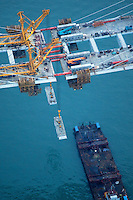 A handout photo dated 18 March 2009 shows an aerial view of Stonecutters Bridge which now links two sides of the port of Hong Kong, China. The engineering and contracting companies that built the bridge, together with the Highways Department of the Hong Kong Government, held a 'deck closure' ceremony to mark the moment when the construction of the two sides of the bridge finally met half way.