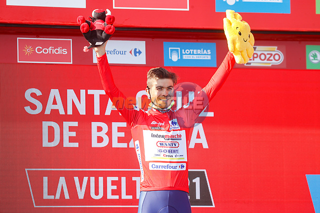 Race leader Odd Christian Eiking (NOR) Intermarché-Wanty-Gobert Matériaux retains the Red Jersey at the end of Stage 16 of La Vuelta d'Espana 2021, running 180km from Laredo to Santa Cruz de Bezana, Spain. 31st August 2021.     <br /> Picture: Luis Angel Gomez/Photogomezsport | Cyclefile<br /> <br /> All photos usage must carry mandatory copyright credit (© Cyclefile | Luis Angel Gomez/Photogomezsport)