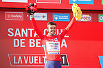 Race leader Odd Christian Eiking (NOR) Intermarché-Wanty-Gobert Matériaux retains the Red Jersey at the end of Stage 16 of La Vuelta d'Espana 2021, running 180km from Laredo to Santa Cruz de Bezana, Spain. 31st August 2021.     <br /> Picture: Luis Angel Gomez/Photogomezsport   Cyclefile<br /> <br /> All photos usage must carry mandatory copyright credit (© Cyclefile   Luis Angel Gomez/Photogomezsport)