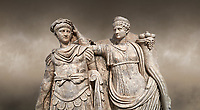 Close up of Roman Sebasteion relief  sculpture of Nero being crowned emperor by Agrippina, Aphrodisias Museum, Aphrodisias, Turkey.  Against an art background.<br /> <br /> Agrippina crowns her young son Nero with a laurel wreath. She carries a cornucopia, a symbol of Fortune and Plenty, and he wears the armour and cloak of a Roman commander, with a helmet on the ground near his feet. The scene refers to Nero's accession as emperor in AD 54, and belongs before AD 59 when Nero had Agrippina murdered.