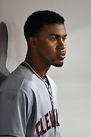Peoria Javelinas shortstop Francisco Lindor (12) during an Arizona Fall League game against the Mesa Solar Sox on October 16, 2014 at Cubs Park in Mesa, Arizona.  Mesa defeated Peoria 6-2.  (Mike Janes/Four Seam Images)