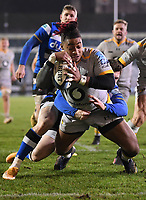 8th January 2021; Recreation Ground, Bath, Somerset, England; English Premiership Rugby, Bath versus Wasps; Paolo Odogwu of Wasps scores a try under pressure from Ben Spencer of Bath