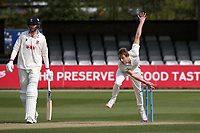 Charlie Morris in bowling action for Worcestershire during Essex CCC vs Worcestershire CCC, LV Insurance County Championship Group 1 Cricket at The Cloudfm County Ground on 9th April 2021