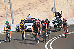 The lead group including Adam Yates (GBR) Ineos Grenadiers, race leader Red Jersey Tadej Pogacar (SLO) UAE Team Emirates and Sepp Kuss (USA) Team Jumbo-Visma on the final climb up Jebel Hafeet during Stage 3 of the 2021 UAE Tour running 166km from Al Ain to Jebel Hafeet, Abu Dhabi, UAE. 23rd February 2021.  <br /> Picture: LaPresse/Fabio Ferrari | Cyclefile<br /> <br /> All photos usage must carry mandatory copyright credit (© Cyclefile | LaPresse/Fabio Ferrari)