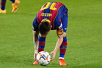 4th October 2020; Camp Nou, Barcelona, Catalonia, Spain; La Liga Football, Barcelona versus Sevilla; Leo Messi sets the ball for a direct free kick, but missed the scoring chance