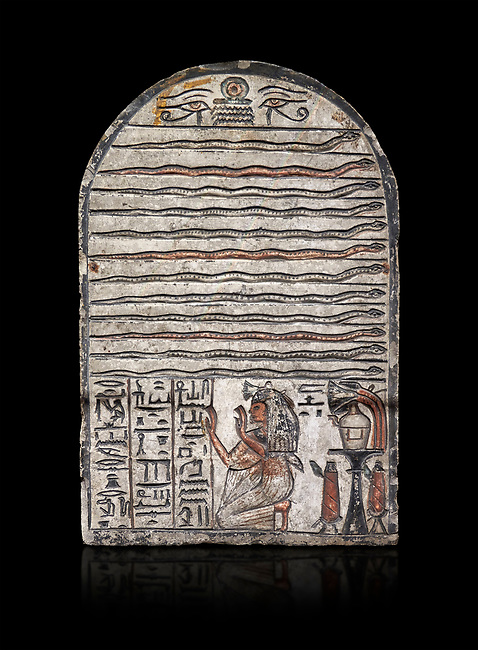 """Ancient Egyptian stele dedicated to Meretsesger, limestone, New Kingdom, 19th Dynasty, (1279-1213 BC), Deir el-Medina, Egyptian Museum, Turin. black background.<br /> <br /> The stele is divided into 3 registers. In the top section 2 wedjat eyes with shen sign above 3 zigzag lines indicating water are depicted. The second, largest register, is divided into 12 horizontal strips. Each is occupied by a coloured snake facing to the right.In the bottom register 3 columns of hieroglyphic text worship the goddess Meretseger: """"life, strength and health to the ka and the lady of the house Wab, the justified."""" To the right of the text the deceased woman is kneeling with her hands raised in adoration. She  wears a white robe. A lotus flower is placed on top of her wig. Behind her head there are 4 hieroglyphic signs that form the phrase """"at peace"""". To the right of the scene there is an offering table with a vessel flanked by a bunch of lotus flowers. Below the table there are 2 vessels on pedestals."""