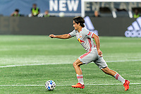 FOXBOROUGH, MA - AUGUST 29: Florian Valot #22 of New York Red Bulls brings the ball forward during a game between New York Red Bulls and New England Revolution at Gillette Stadium on August 29, 2020 in Foxborough, Massachusetts.