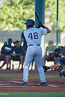 AZL Padres 1 Joshua Mears (48) at bat during an Arizona League game against the AZL Indians Red on June 23, 2019 at the Cleveland Indians Training Complex in Goodyear, Arizona. AZL Indians Red defeated the AZL Padres 1 3-2. (Zachary Lucy/Four Seam Images)