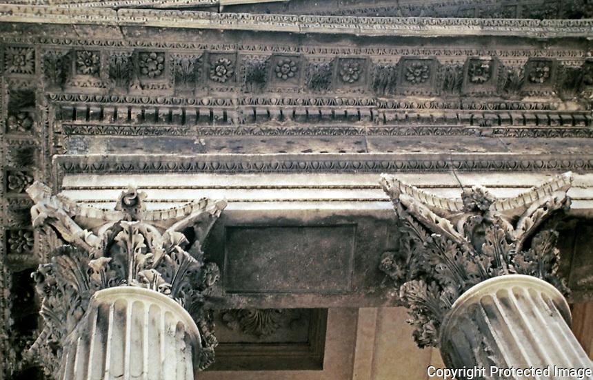 Maison Carrée detail of Corinthian Columns and lintel