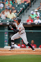 Indianapolis Indians right fielder Danny Ortiz (12) bats during a game against the Buffalo Bisons on August 17, 2017 at Coca-Cola Field in Buffalo, New York.  Buffalo defeated Indianapolis 4-1.  (Mike Janes/Four Seam Images)