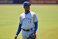 Dunedin Blue Jays infielder Orelvis Martinez (11) warms up prior to a game against the Tampa Tarpons on May 9, 2021 at George M. Steinbrenner Field in Tampa, Florida.  (Mike Janes/Four Seam Images)