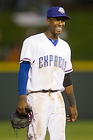 Round Rock Express shortstop Jurickson Profar #10 smiles against the Omaha Storm Chasers in the Pacific Coast League baseball game on April 4, 2013 at the Dell Diamond in Round Rock, Texas. Round Rock defeated Omaha in their season opener 3-1. (Andrew Woolley/Four Seam Images).