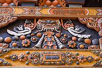 Punakha, Bhutan.  Dragon Decoration in the Punakha Dzong (Fortress/Monastery).