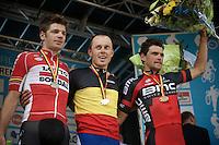2015 Belgian Championships podium:<br /> 1/ Preben van Hecke (BEL/Topsport Vlaanderen - Baloise)<br /> 2/ Jurgen Roelandts (BEL/Lotto-Soudal)<br /> 3/ Greg Van Avermaet (BEL/BMC)