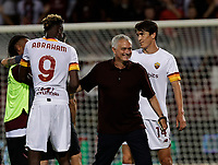 29th August 2021;  Estadio Arechi, Salerno, Campania, Italy;  Serie A Football league, Salernitana versus Roma; Jose Mourinho coach of AS Roma is all smiles and speak to Tammy Abraham at the end of match
