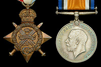 BNPS.co.uk (01202 558833)<br /> Pic: DixNoonanWebb/BNPS<br /> <br /> Pictured: Left to right: The 1914 Star and British War medal.<br /> <br /> The medals of a hero World War One gunner who was the first to shoot down an enemy aircraft have sold for £5,500.<br /> <br /> Major Francis Small achieved the ground-breaking feat in an Avro biplane on November 22, 1914.