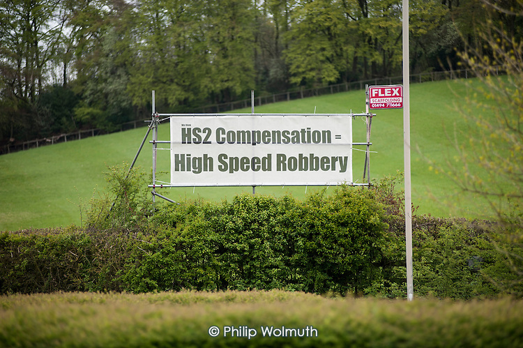 HS2 Compensation = High Speed Robbery.  Roadside banner near Great Missenden, Buckinghamshire, close to the proposed route of the HS2 high speed rail line.