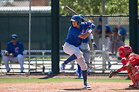 Chicago Cubs third baseman Fidel Mejia (16) at bat during an Extended Spring Training game against the Los Angeles Angels at Sloan Park on April 14, 2018 in Mesa, Arizona. (Zachary Lucy/Four Seam Images)