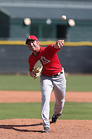 Cole Swanson #18 of the Los Angeles Angels pitches during a Minor League Spring Training Game against the Chicago Cubs at the Los Angeles Angels Spring Training Complex on March 23, 2014 in Tempe, Arizona. (Larry Goren/Four Seam Images)