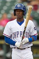 Round Rock second baseman Jurickson Profar (10) in action in the Pacific Coast League baseball game against the Nashville Sounds on May 4, 2013 at the Dell Diamond in Round Rock, Texas. Round Rock defeated Nashville -6. (Andrew Woolley/Four Seam Images).