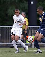 Boston College forward/midfielder Diego Medina-Mendez (15) crosses the ball. Boston College defeated Quinnipiac, 5-0, at Newton Soccer Field, September 1, 2011.