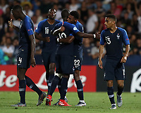 Football: Uefa under 21 Championship 2019, England - France, Dino Manuzzi stadium Cesena Italy on June18, 2019.<br /> France's Jonathan Ikoné (c) celebrates after scoring with his teammates during the Uefa under 21 Championship 2019 football match between England and France at Dino Manuzzi stadium in Cesena, Italy on June18, 2019.<br /> UPDATE IMAGES PRESS/Isabella Bonotto