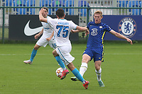 Ruslan Khailoev of Zenit St Petersburg skips past a challenge from Chelsea's Lewis Kieran Hall during Chelsea Under-19 vs FC Zenit Under-19, UEFA Youth League Football at Cobham Training Ground on 14th September 2021
