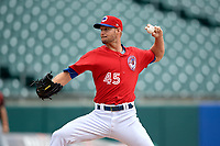 Buffalo Bisons pitcher Matt Dermody (45) during an International League game against the Indianapolis Indians on June 20, 2019 at Sahlen Field in Buffalo, New York.  Buffalo defeated Indianapolis 11-8  (Mike Janes/Four Seam Images)