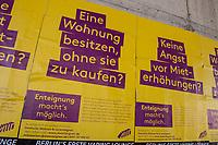 """Plakate der Kampagne """"Deutsche Wohnen & Co enteignen"""".<br /> 14.3.2020, Berlin<br /> Copyright: Christian-Ditsch.de<br /> [NUR FUER REDAKTIONELLE ZWECKE! Werbung nur auf Anfrage beim Fotografen. Inhaltsveraendernde Manipulation des Fotos nur nach ausdruecklicher Genehmigung des Fotografen. Vereinbarungen ueber Abtretung von Persoenlichkeitsrechten/Model Release der abgebildeten Person/Personen liegen nicht vor. NO MODEL RELEASE! Don't publish without copyright Christian-Ditsch.de, Veroeffentlichung nur mit Fotografennennung, sowie gegen Honorar, MwSt. und Beleg. Konto: I N G - D i B a, IBAN DE58500105175400192269, BIC INGDDEFFXXX, Kontakt: post@christian-ditsch.de<br /> Bei der Bearbeitung der Dateiinformationen darf die Urheberkennzeichnung in den EXIF- und  IPTC-Daten nicht entfernt werden, diese sind in digitalen Medien nach §95c UrhG rechtlich geschuetzt. Der Urhebervermerk wird gemaess §13 UrhG verlangt.]"""