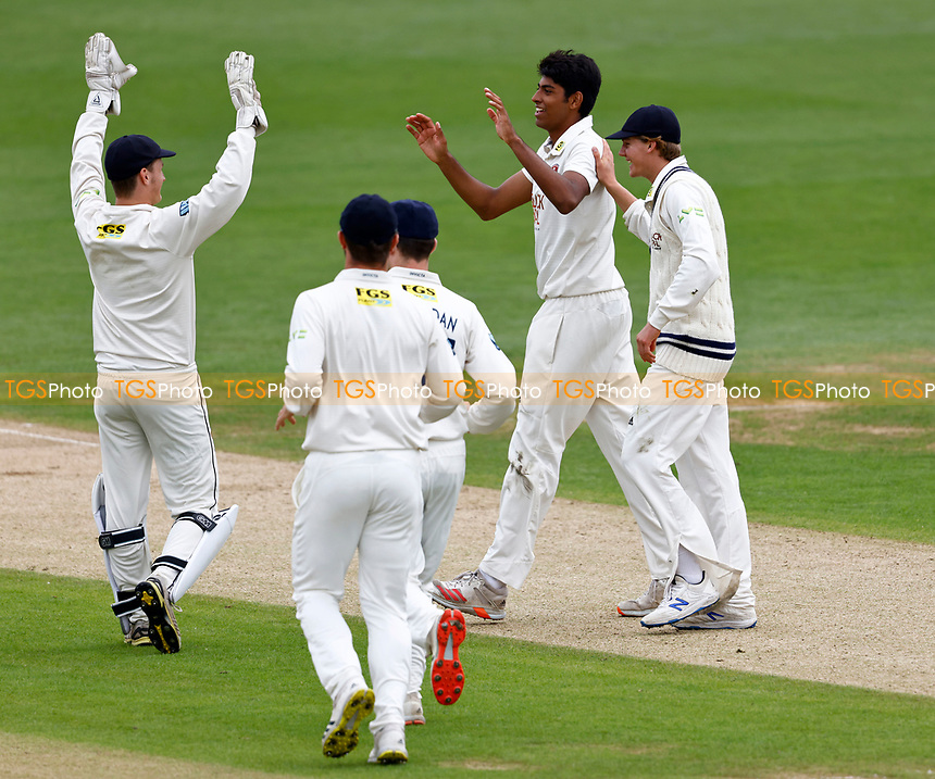 Jas Singh of Kent is congratulated after taking the wicket of Travis Head during Kent CCC vs Sussex CCC, LV Insurance County Championship Group 3 Cricket at The Spitfire Ground on 11th July 2021