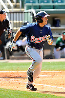 Willie Cabrera #23 of the Mississippi Braves in action versus the West Tenn Diamond Jaxx at Pringles Park April 18, 2010 in Jackson, Tennessee. (Photo by Grant Halverson / Four Seam Images)