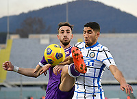 Football Soccer: Tim Cup Round of 16 Fiorentina - FC Internazionale Milano, Artemio Franchi  stadium, Florence, January 13, 2021. <br /> Fioentina's Gaetano Castrovilli (l) in action with Inter's Achraf Hakimi (r) during the Italian Tim Cup football match between Fiorentina and Inter at Florence's Artemio Franchi stadium, on January 13, 2021.  <br /> UPDATE IMAGES PRESS/Isabella Bonotto