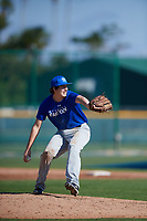 Christopher Rowell (20), from Turnersville, New Jersey, while playing for the Dodgers during the Baseball Factory Pirate City Christmas Camp & Tournament on December 30, 2017 at Pirate City in Bradenton, Florida.  (Mike Janes/Four Seam Images)