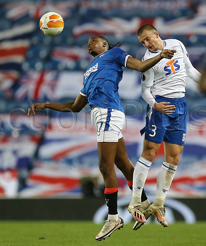 29th October 2020, Ibrox Stadium, Glasgow, Scotland; UEFA Europa League football, group stages; Glasgow Rangers versus Lech Poznan;   Vasyl Kravets of Lech Poznan battles with Joe Aribo of Rangers