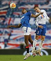 29th October 2020, Ibrox Stadium, Glasgow, Scotland; UEFA Europa League football, group stages; Glasgow Rangers versus Lech Poznan;   Vasyl Kravets of Lech Poznan battles with Joe Aribo of Rangers