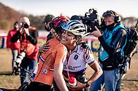 Annemarie Worst (NED/777) congratulating Ceylin del Carmen Alvarado (NED/Alpecin-Fenix) after she won the European title<br /> <br /> UEC Cyclocross European Championships 2020 - 's-Hertogenbosch (NED)<br /> <br /> Elite Women's Race<br /> <br /> ©kramon